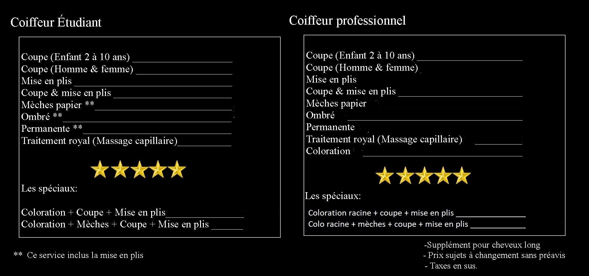 Acad mie de coiffure de la mont r gie tarif des services for Tarif de coiffure en salon